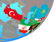 ECO member states with embedded national flag on blue political globe.