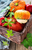 Autumn arrangement of pumpkins - basket with vegetables - 226305376