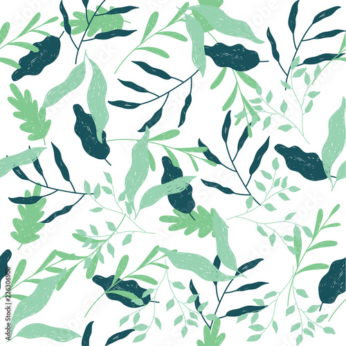 seamless pattern with green leaves - 226306908
