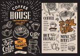 Coffee restaurant menu. Vector beverage flyer for bar and cafe. Blackboard design template with vintage hand-drawn food illustrations.