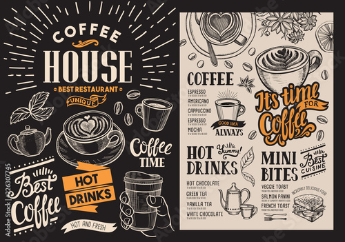 Coffee restaurant menu. Vector beverage flyer for bar and cafe. Blackboard design template with vintage hand-drawn food illustrations. - 226307745