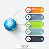 Modern infographic design template. Planet connected with 5 rounded text boxes and thin line icons. Five features of global cooperation concept. Vector illustration for report, presentation, website. - 226309504