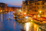 Grand Canal gondolas embankmentat illuminated at night, Venice Italy