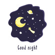 Background with night sky, crescent and stars and inscription Good night. Vector illustration. - 226313955