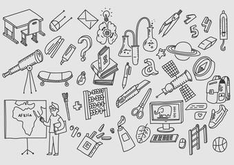 Hand drawn vector doodle school icons and symbols