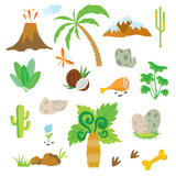 Dinosaur footprint, Volcano, Palm tree and other design elements