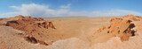 View on Bayanzag Flaming Cliffs  on the Mongolian Gobi desert containing fossils of jurassic dinosaurs