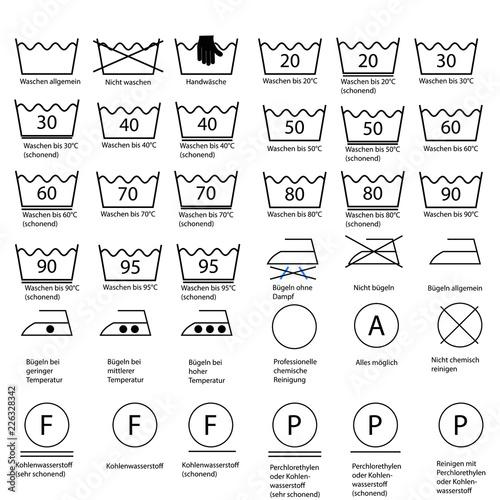 Fototapeta Waschezeichen Und Textilpflegesymbole Fototapeta4u Pl