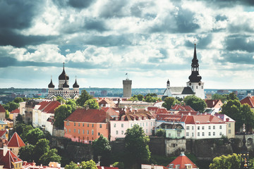 Old Tallinn. Estonia. View to Orthodox church Alexander Nevsky from Oleviste church in summer