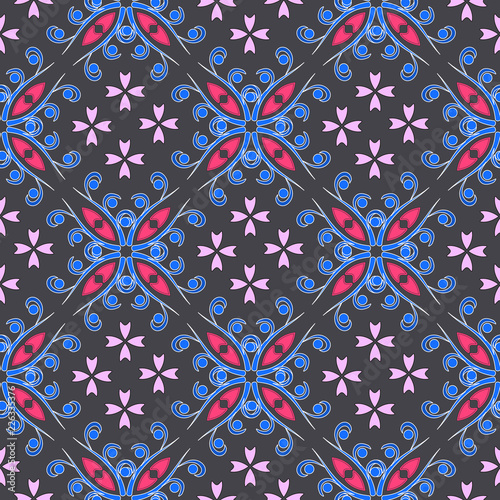 the pattern of flowers on a gray background - 226335376