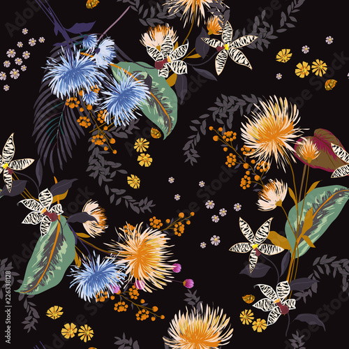 Dark Trendy  Floral pattern in the many kind of flowers. Tropical botanical  Seamless vector texture. Elegant template for fashion prints. Printing - 226338128