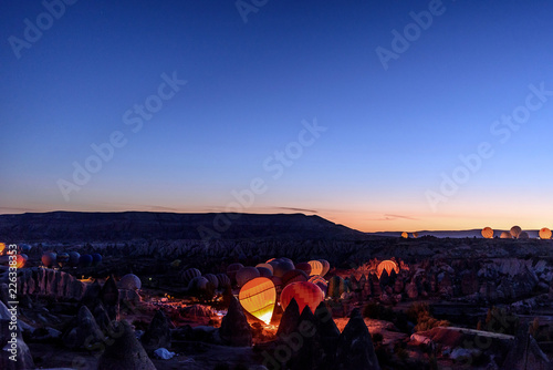 preparation for take-off balloons in the desert at dawn - 226338353