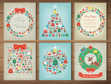Merry christmas set. Greeting card collections with Christmas elements. Vector