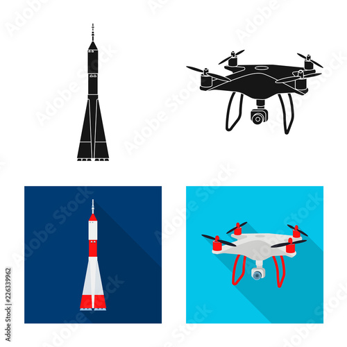 Fototapeta Isolated object of plane and transport icon. Set of plane and sky stock vector illustration.