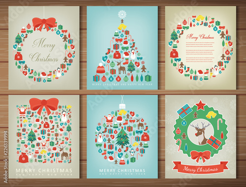 Merry christmas set. Greeting card collections with Christmas elements. Vector - 226339994