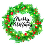 Merry Christmas greeting card design with calligraphy lettering on holly wreath background. Vector Xmas lights decoration and font for New Year celebration - 226349152