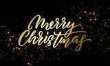 Merry Christmas golden light sparkles and gold calligraphy lettering. Vector Xmas holiday golden glitter or Christmas confetti on black background - 226349316