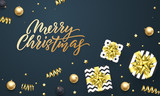 Merry Christmas greeting card background template of golden gift ribbon or gold glittering stars confetti on premium black. - 226349781