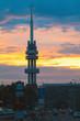 TV tower at sunset in Prague