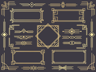 Art deco line border. Modern arabic gold frames, decorative lines borders and geometric golden label frame vector design elements