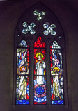 artistic stained glass depicting the Sacred Heart of Jesus - Church of the Monastery of Santa Chiara - Naples - 226352733