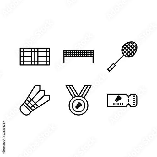 Badminton Icon Set In Line Version 34x34 Pixel Perfect Include