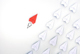 Red paper plane are different from others. Business for innovative, solution concepts. - 226359717