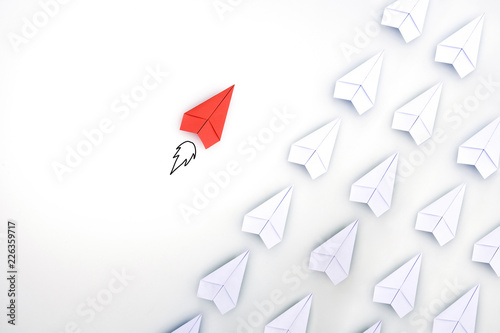 Leinwanddruck Bild Red paper plane are different from others. Business for innovative, solution concepts.
