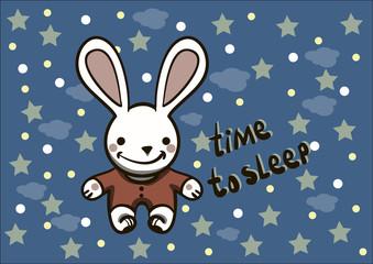 white bunny in pajamas