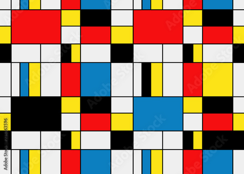 Colorful background in mondrian style. Vector illustration for your graphic design. © elnourbabayev