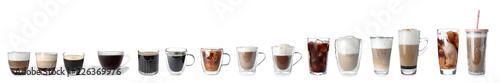 Leinwandbild Motiv Set with different types of coffee drinks on white background