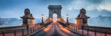 Fototapeta Miasto - Kettenbrücke Panorama in Budapest, Ungarn © eyetronic