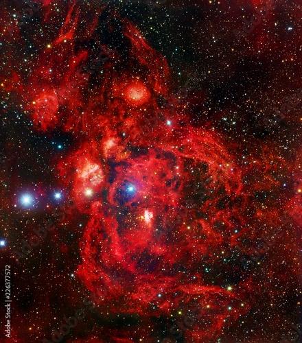 Lobster Nebula Color-Enhanced Red Galaxy Universe Background Wallpaper Original Image by NASA/ESA