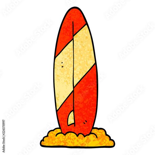 Fototapeta grunge textured illustration cartoon surf board