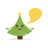 Cute cartoon christmas tree character with empty speech bubble, for new year and christmas holiday greetings. - 226382782