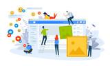 Vector illustration concept of social network. Creative flat design for web banner, marketing material, business presentation, online advertising. - 226392142
