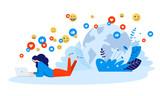 Vector illustration concept of networking, online communication, internet community. Creative flat design for web banner, marketing material, business presentation, online advertising.  - 226392160