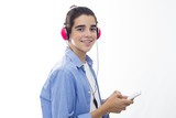 young man with phone and headphones listening to isolated music in white