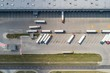 Aerial drone view on warehouse and logistic center