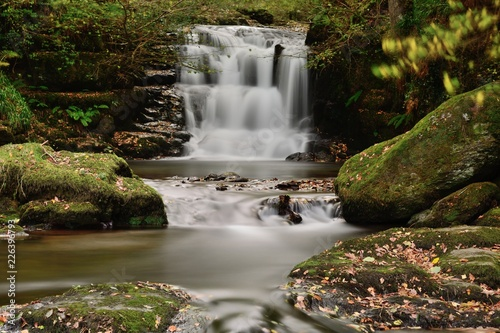Long exposure of the big waterfall at Watersmeet in Devon - 226396793