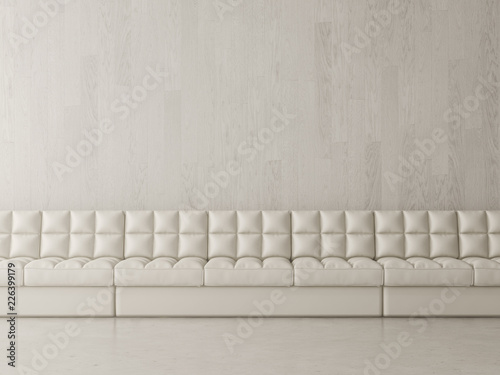 Interior design of room with couch 3D rendering