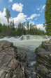 Dawson Falls in Wells Gray Provincial Park with water running in the middle