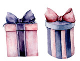 Watercolor giftboxes set. Hand painted pink and violet gift box with ribbon isolated on white background. Holiday illustration for design, print. Birthday party set. - 226403334