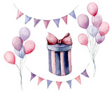 Watercolor birthday set. Hand painted gift box with ribbon, flag garlands, air balloons isolated on white background. Pastel decor collection. Holiday illustrations. - 226403713