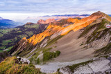 Berner Oberland, Schweiz, Alpen, Aussicht vom Brienzer Rothorn Richtung Nordosten, Luzern und Obwalden, Sonnenuntergang, Abendrot, Dämmerung