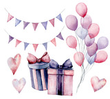 Watercolor birthday decor set. Hand painted gift boxes with ribbons, flag garlands, air balloons isolated on white background. Pastel decor collection. Holiday illustrations. - 226404194