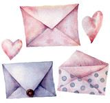 Watercolor envelopes with hearts set. Hand painted violet, pink pink and polka dot envelopes isolated on white background. Vintage mail icon. Design elements for print, background. - 226404908