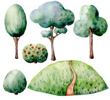 Watercolor forest constructor set. Hand painted green trees and bushes isolated on white background. Nature illustration for design, print. - 226405177