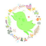 Green pig in frame of flowers, leaves and hearts. Holiday illustration