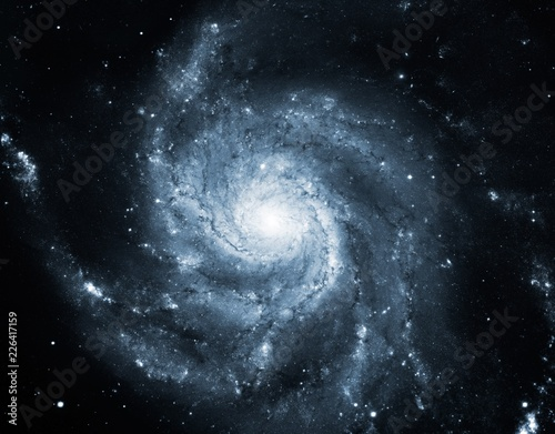Recolored Dark Blue Pinwheel Galaxy Messier 101 Universe Nebula Background Wallpaper Original Image by NASA4